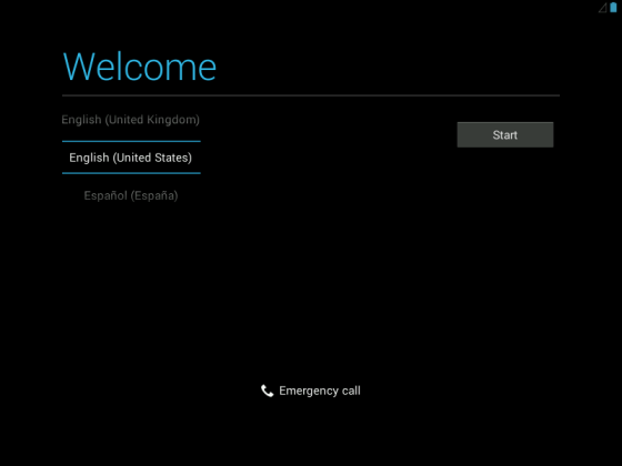 android welcome screen