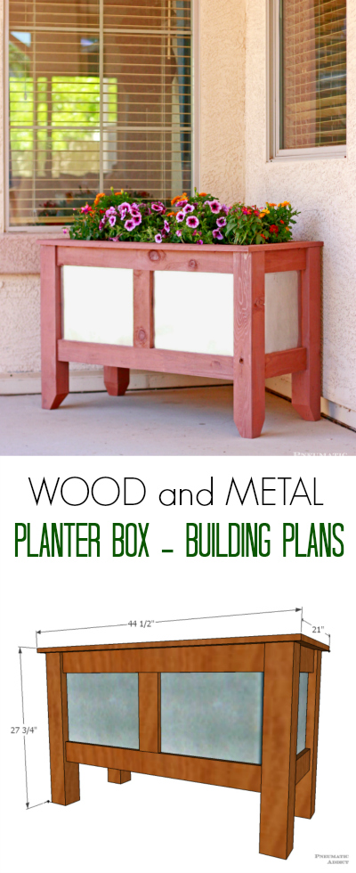 Make your own DIY wood planter boxes with cool metal panels