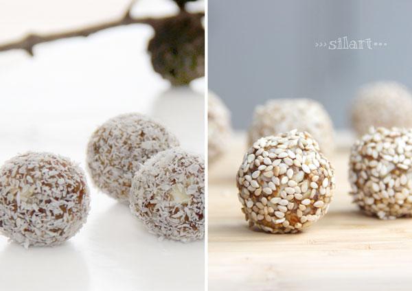 Power Balls mit Kokos und Sesam