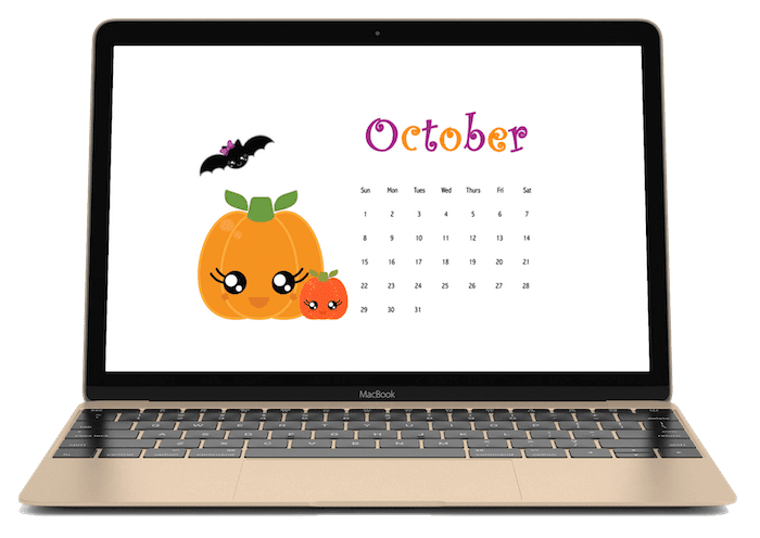 October 2017 Calendar Freebies. Super cute Halloween Kawaii calendar wallpaper for desktops and iPhones. You'll love how they look!