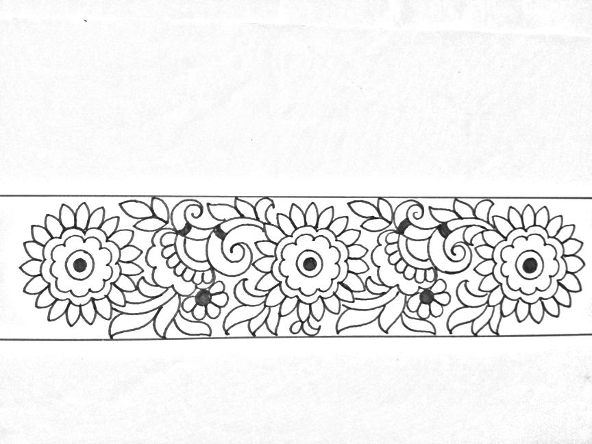 Flower Black And White Pencil Drawing Saree Border Border Design