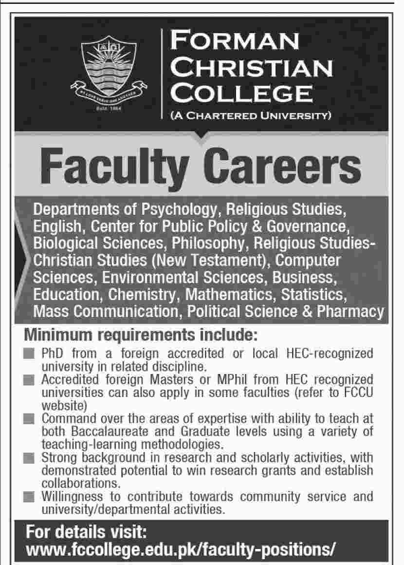 Jobs In Forman Christian College Lahore Dec 2017