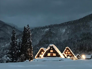 Shirakawago light-up in snowy winter