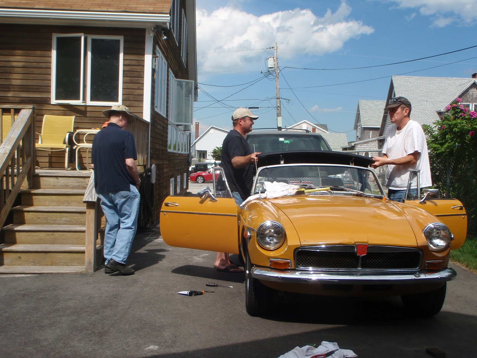 Mgb In The Garage New Wiring Harness Vinyl Top Alternator Etc Antique Car Wire Final Alignment And Fittment