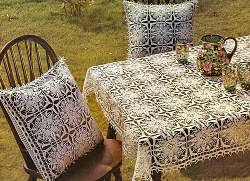 crochet Tablecloth And Pillow Cover Sq4