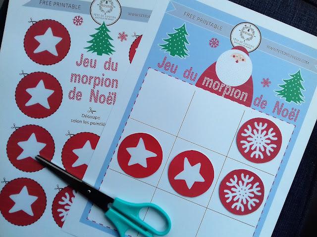 jeu du morpion de Noël tête de coucou à imprimer gratuit free printable enfants