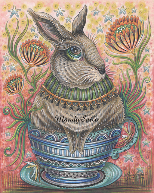 Mandy Saile, colored pencil, drawing, art, bunnies, rabbits, teacup