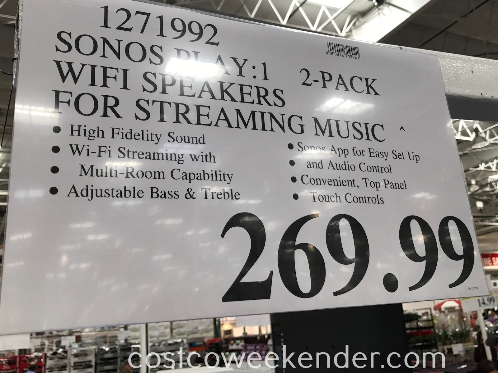 Deal for a set of 2 Sonos Play:1 Wifi Speakers at Costco