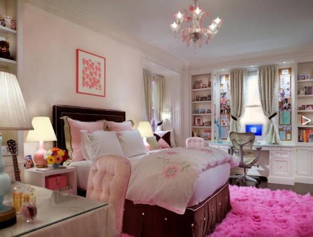 Pink Bedroom With Chandelier
