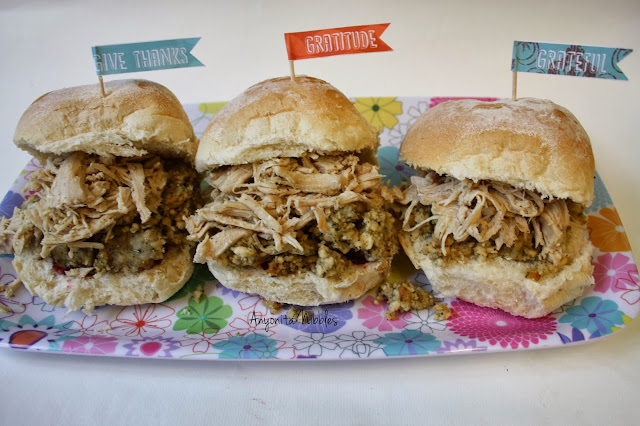 Leftover turkey sliders with stuffing and cranberry sauce from www.anyonita-nibbles.com