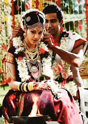 In South Indian wedding along with dress Flowers with great smell also extend the beauty of couple.