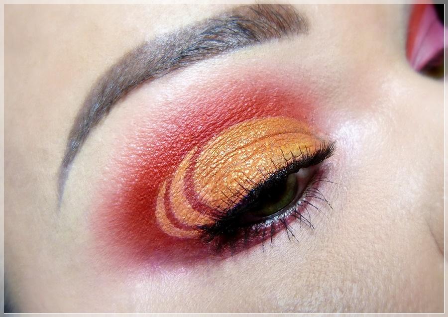 red orange cut crease eye makeup