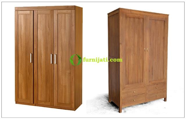 Gambar lemari kayu jati 2 pintu