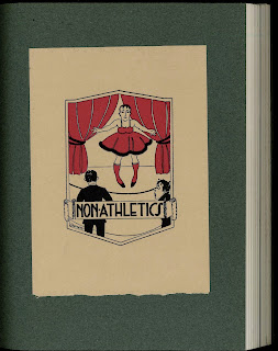 "A book cover bearing a cartoon of a man in a dress and stockings on a stage, titled ""Non-Athletics."""