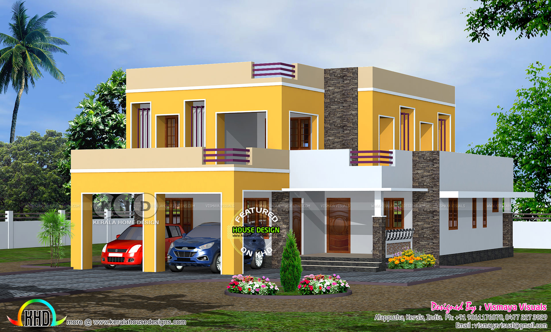 2400 square feet 4 bedroom flat roof residence kerala for Home design 2400 sq ft