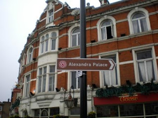 The Brown Sign pointing the way to Alexandra Palace. The sign is opposite Wood Green Tube Station