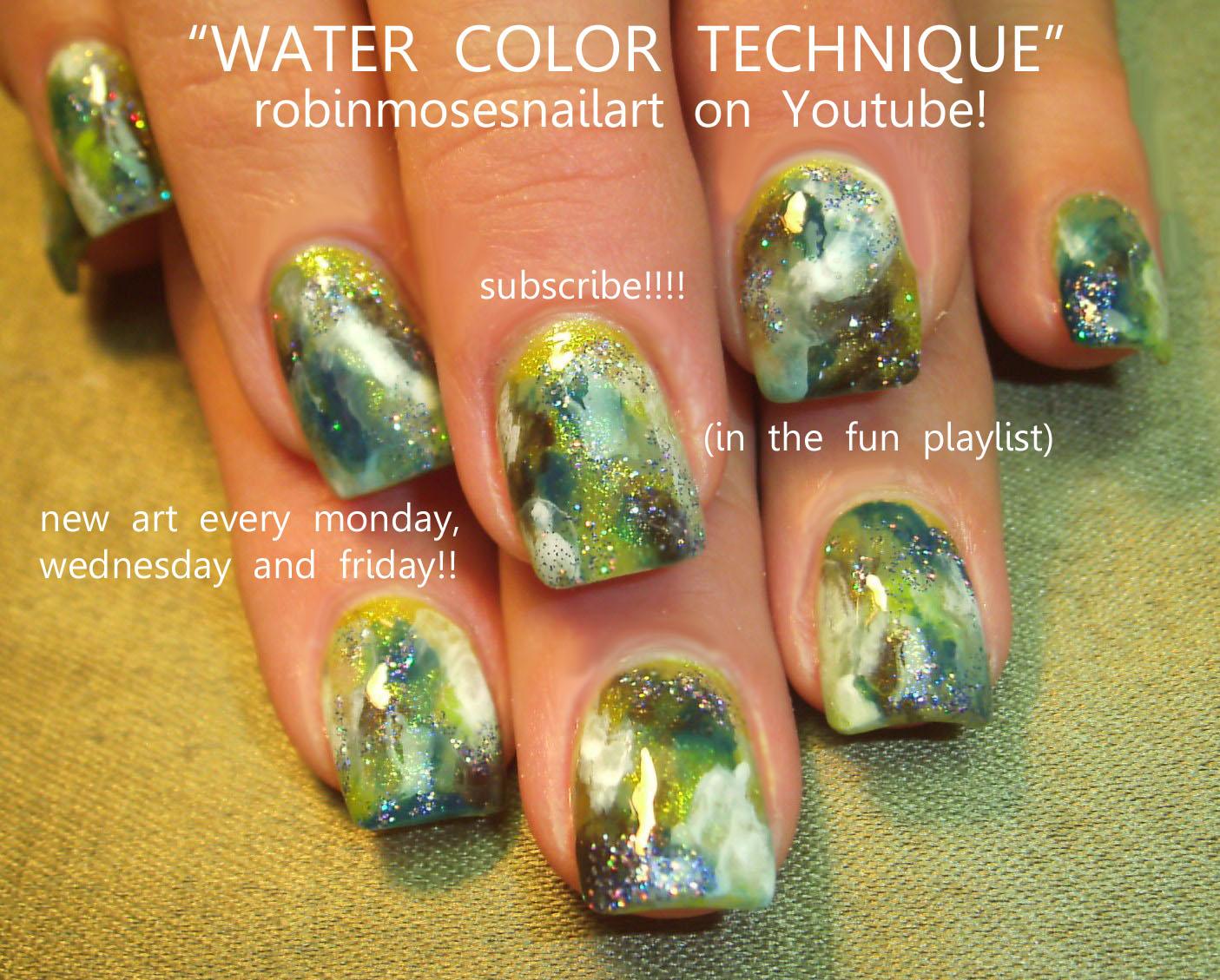easy watercolor nail art, nicki minaj style nail art black and ...