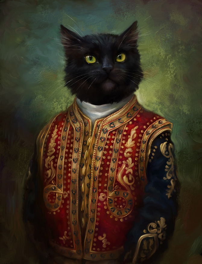 05-The-Hermitage-Court-Moor-in-casual-uniform-Eldar-Zakirov-Digital-Art-Illustrations-of-Smartly-Dressed-Cats-www-designstack-co