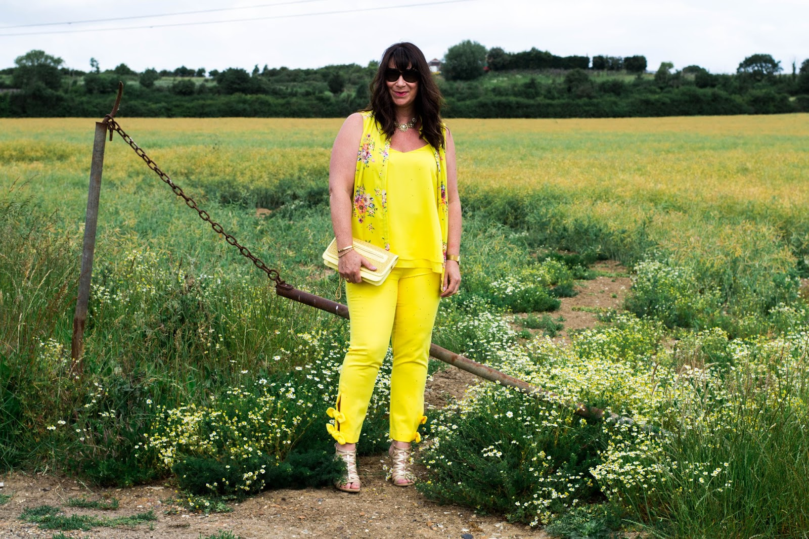 Monochrome can mean different shades of one colour as blogger Jacqui Berry shows with her zingy yellow outfit and accessories