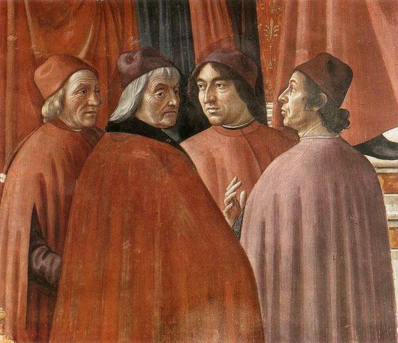 Marsilio Ficino, Cristoforo Landino, Angelo Poliziano and Demetrios Chalkondyles.