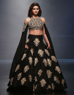 Prachi Desai Backless Choli Ghagra at Lakme Fashion Week 2016