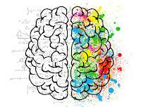 Is image me human brain ka ek diagram dikhaya gaya hai jisme dimag ke ek hisse ko creativity, tatha dusre hisse ko calculations ke liye dikhaya gaya hai.