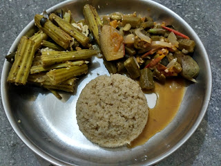 Little millet rice, Ladies finger Brinjal curry,  Drumstick poriyal