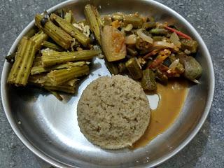 Little millet rice, Ladies finger Brinjal curry,  Drumstick poriyal