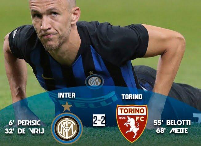Inter rimontata dal Torino: a Perisic e De Vrij rispondono Belotti e Meité.