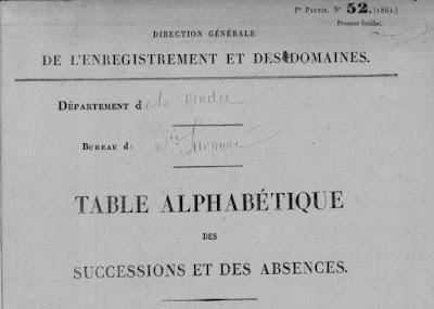 Archives Départementales de Vendée, cas concret de recherches au XIXème siècle : les déclarations de succession