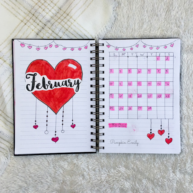 February 2019 Bullet Journal Cover Page and Calendar