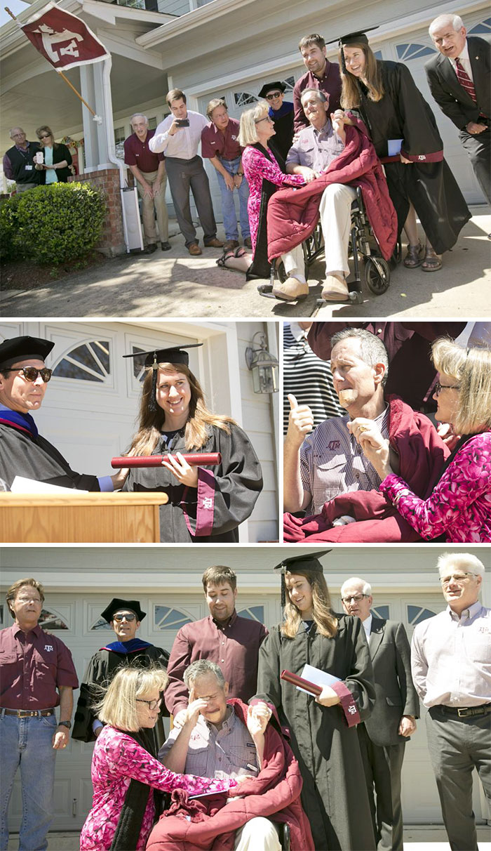 36 People's Heart-Breaking Last Wishes - Father Dying Of Terminal Cancer Has Wish To See His Daughter Graduate From His Alma Matter Granted After Texas A&M Brings The Ceremony To Him