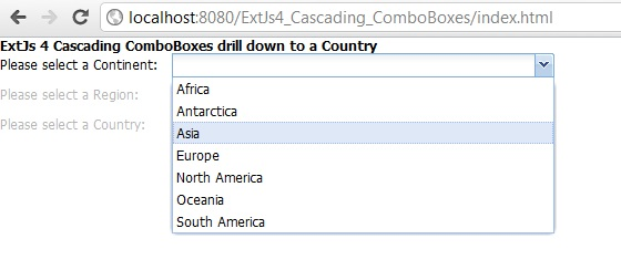 ExtJs 4 cascading ComboBox example using Java Servlet