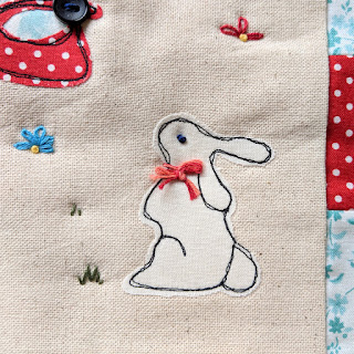 rabbit applique free motion embroidery