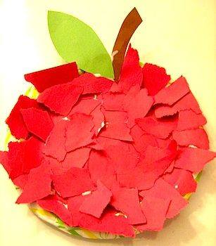 Idea to make apple from paper for kids