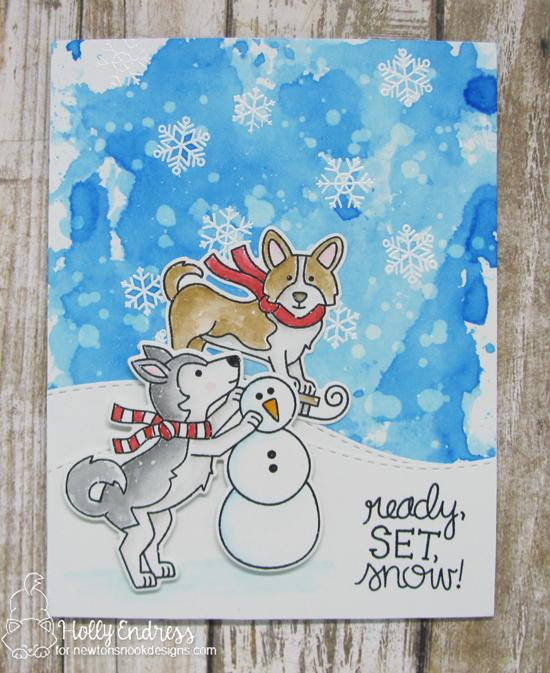 Winter Dogs Card by Holly Endress | Winter Woofs Dog Stamp set by Newton's Nook Designs #newtonsnook