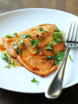 maple salmon sprinkled with parsley