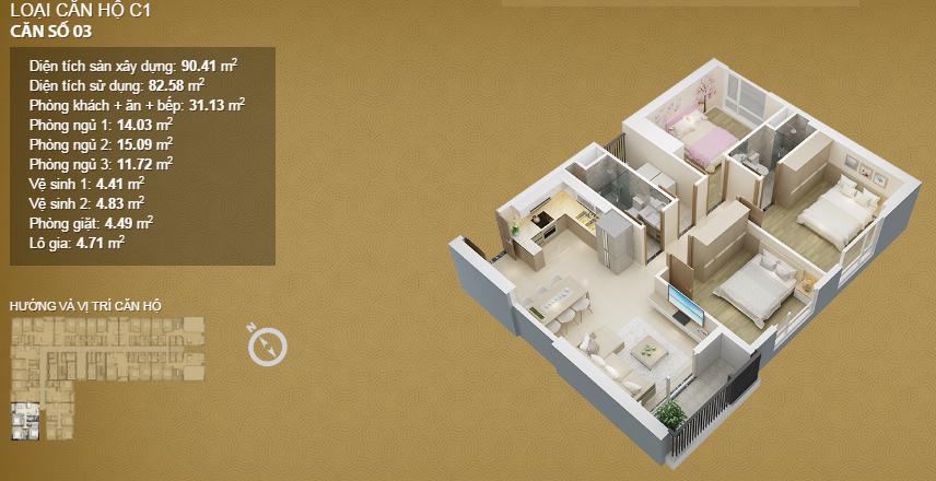 Căn hộ 03 tầng 34