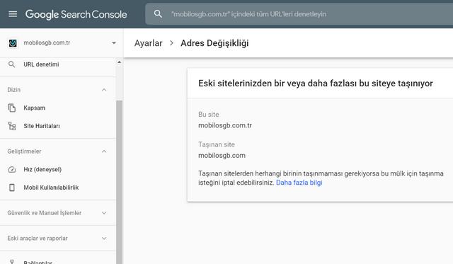 Google Search console adres değişikliği site taşıma