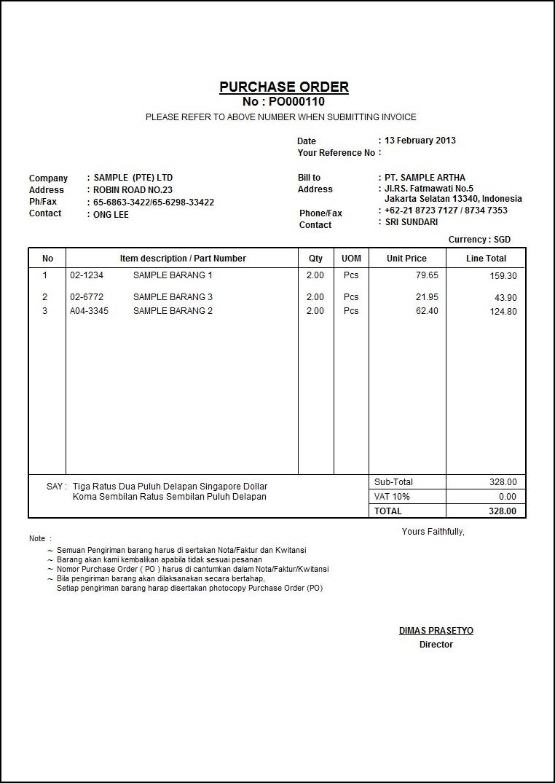 contoh dokumen purchase order (po)