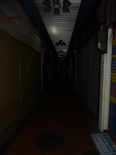 Creepy corridor/tunnel/alley which is part of the Piazza Kobe and Motoko town under Motomachi station, Kobe. It's early in the morning so the arcade is shut and dark