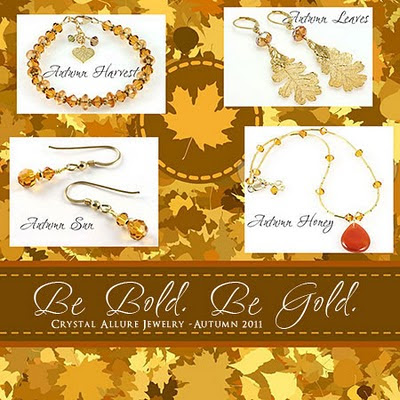 Be Bold Be Gold. Crystal and Leaf Jewelry by Crystal Allure Beaded Jewelry Creations