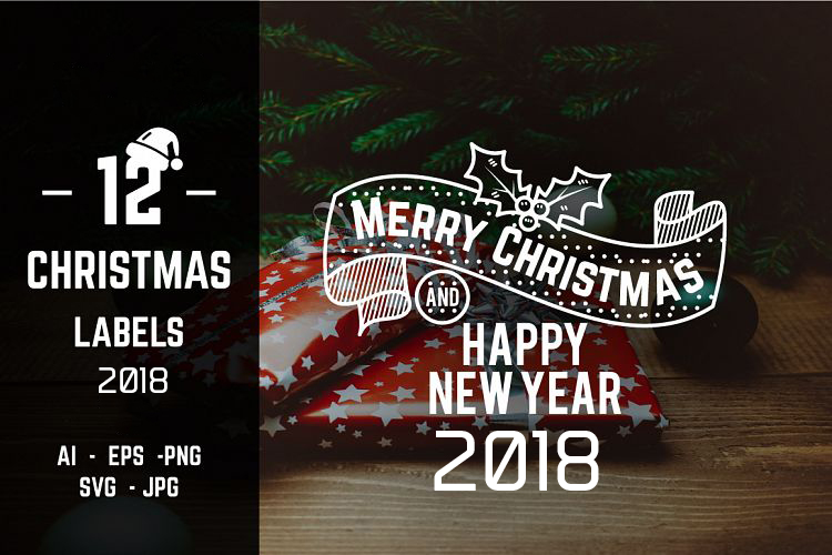 Christmas And Happy New Year Labels and Badges