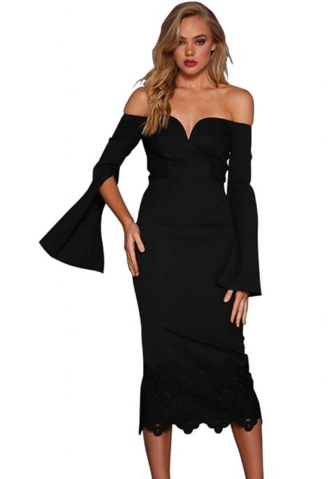 Rochie neagra eleganta din dantela cu decolteu si maneci largi