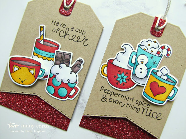 Guest Post: Emily Leiphart and Kayln Kepner with the Cup of Cocoa Stamp Set! Cup of Cocoa Stamp Set and Fancy Edges Tag Die Set by Newton's Nook Designs #newtonsnook #handmade