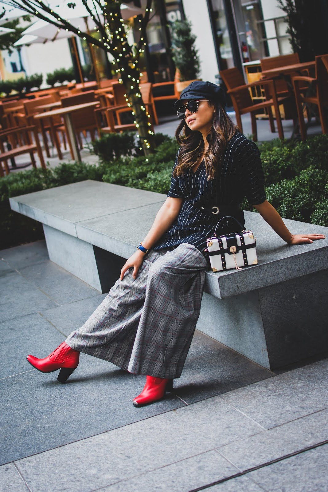 how to wear plaid in winter, fall fashion, mom life, tips on juggling life, dress as shirt, belted wool dress, red cowboy boots, boots of the season, fashion, street style, layered look, cabbie cap, myriad musings