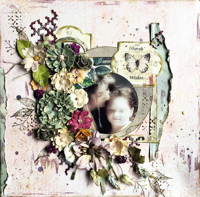 Butterfly Wishes layout by Lisa Novogrodski for Scraps of Elegance using the April Kit A Song of Spring