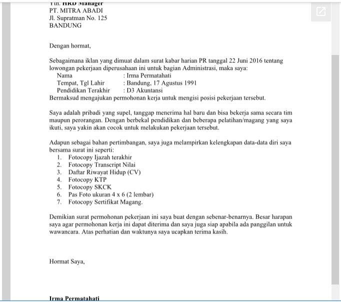 Download Contoh Surat Lambaran Kerja Umum Format Doc Ms Word Library Pendidikan