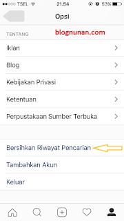 cara menghapus pencarian di instagram permanen