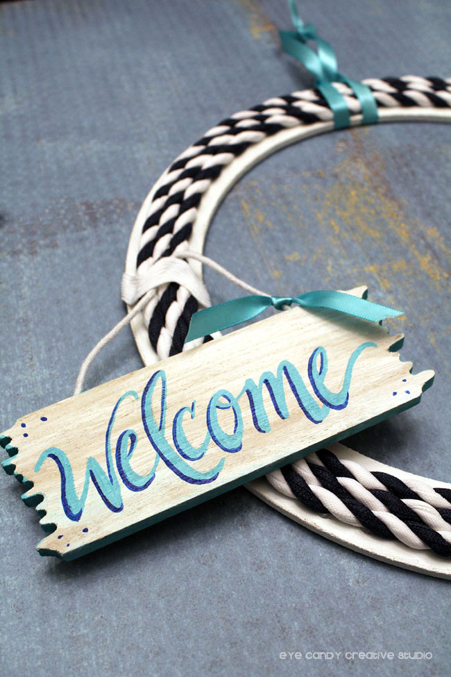 navy & aqua wreath, welcome sign, hand lettered, beach sign